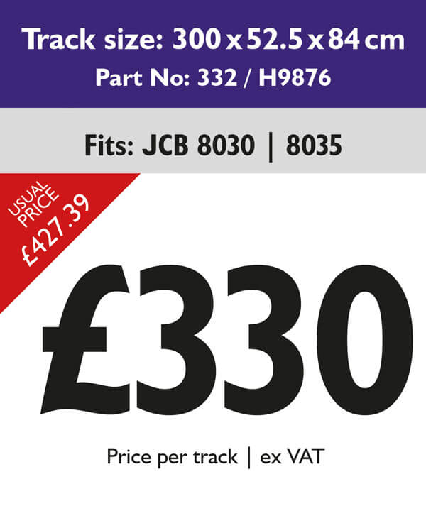 rubber tracks for jcb 8030 and 8035