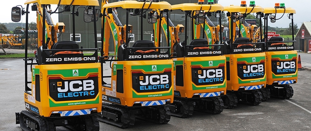 A row of five JCB 19C-1E electric mini excavators
